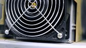 Data Centers With Fans. Stock Footage. Close-up Of Fan Unit Hardware For Supply Of Data Centre. Powe poster