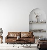 Wall Mock Up In Scandi-boho Home Interior With Retro Brown Leather Furniture, 3d Illustration poster