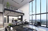 Luxury Modern Penthouse Interior With Panoramic Windows, 3d Illustration poster