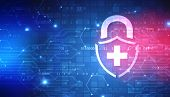 Abstract Medical And Health Care Background, Medical Security Lock Icon Logo Design Element, Securit poster