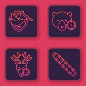 Set Line Flying Duck On Shield, Hunt On Deer With Crosshairs, Hunt On Bear With Crosshairs And Hunti poster