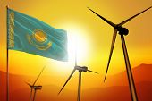 Kazakhstan Wind Energy, Alternative Energy Environment Concept With Turbines And Flag On Sunset - Al poster