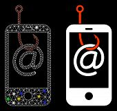 Glossy Mesh Smartphone Email Phishing Icon With Glitter Effect. Abstract Illuminated Model Of Smartp poster