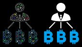 Glowing Mesh Businessman Bitcoin Expences Icon With Glow Effect. Abstract Illuminated Model Of Busin poster