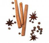 Cinnamon Sticks, Anise Stars And Black Peppercorns