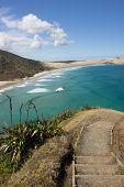 Stairs Leading To Te Werahi Beach And Cape Maria Van Diemen In Cape Reinga In Northland, New Zealand poster