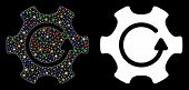 Glowing Mesh Rotate Gear Icon With Sparkle Effect. Abstract Illuminated Model Of Rotate Gear. Shiny  poster