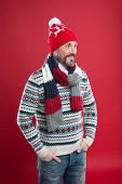 Bearded Man In Winter Style. Caucasian Man Wear Warm Clothes. Winter Trends. Knitted Hat Scarf And S poster