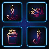 Set Line Fishing Hook, Fishing Bucket With Fishes, Fishing Hook And Fishing Hook Under Water With Fi poster
