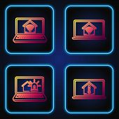 Set Line Laptop With House Temperature, Laptop With Smart House And Alarm, Laptop With Smart Home Wi poster