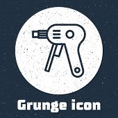 Grunge Line Electric Hot Glue Gun Icon Isolated On Grey Background. Hot Pistol Glue. Hot Repair Work poster