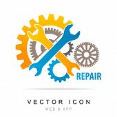 Wrench And Gear Icon. Mechanic Service And Mechanics, Service Tools Icon, Service Icon. Manufacturin poster