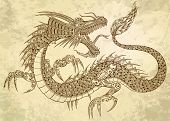 Henna Tattoo Dragon Doodle Sketch Tribal grunge Vector Illustration Art