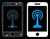 Glossy Mesh Smartphone Radio Control Icon With Sparkle Effect. Abstract Illuminated Model Of Smartph poster