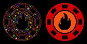 Glossy Mesh Flame Casino Chip Icon With Sparkle Effect. Abstract Illuminated Model Of Flame Casino C poster