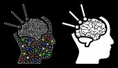 Glowing Mesh Brain Operation Icon With Glare Effect. Abstract Illuminated Model Of Brain Operation.  poster