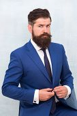 Formal And Stylish. Stylish Businessman Button Suit Jacket. Bearded Man In Office Style. Professiona poster