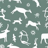 Petroglyph Hunter, Bull. Vector Patterns In A Flat Style. Anthropology, Archeology, History. Vector  poster