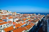 Portugal, Panoramic View Of Old Town  Lisbon In Summer, Touristic Centre Of Lisbon, St. George Medie poster