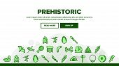 Prehistoric Primitive Landing Web Page Header Banner Template Vector. Bone In Bowl And Chicken Leg,  poster