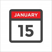 January 15 Calendar Icon W Day Of Month poster