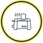 Vector Illustration Of Toaster Icon Line. Beautiful Appliance Element Also Can Be Used As Appliance  poster