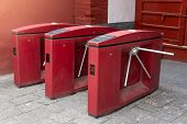 Red Three Tripod Turnstile Metal Gates Entrance For Access Control In China. Entrance Or Exit Turnst poster