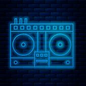 Glowing Neon Line Dj Remote For Playing And Mixing Music Icon Isolated On Brick Wall Background. Dj  poster