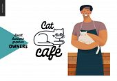 Cat Cafe -small Business Owners Graphics -owner With A Cat. Modern Flat Vector Concept Illustrations poster
