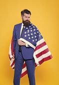 National Pride. Bearded Man Wearing National Flag Of The Usa On Formalwear. Confident Businessman Ce poster