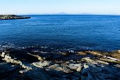 Coast of the North Sea. Rogaland. Norway. Journey to Scandinavia. View of the calm sea from the rock poster