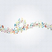 Seamless Pattern Musical Notes On Transparent. Musical Symbols For Banner Of Festival, Print Design, poster