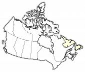 Map Of Canada, Newfoundland And Labrador Highlighted