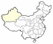 Map Of China, Xinjiang Highlighted