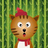 Katze mit Bambus-Hintergrund