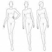 Fashion Template Of Walking Women. 9 Head Size For Technical Drawing With Main Lines. Lady Figure Fr poster