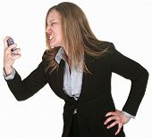 Furious Woman Holding Telephone