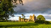 Large Panorama With Ruins Of 12th Century Bective Abbey With Surrounding Wall And Large Green Tree D poster