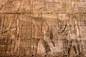 Ancient Egyptian Architecture Ruins. Hieroglyphs And Columns Of The Temple Of Horus At Edfu, In Egyp poster
