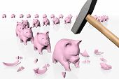 Piggy Banks In Queue Under The Hit Of The Hammer