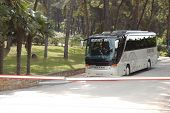 Kassandra Peninsula, Greece - April 28: The Modern Bus For Tourists Transportation Is Near Entrance