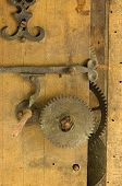 Closeup Retro Wooden Clock Grunge Mechanism Gear