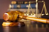 Scales of justice, gavel and books