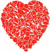 image of broken heart  - vector background of red splinters forming a heart - JPG