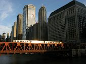 Chicago 'L' Train Traveling at dusk