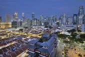 Singapore Central Business District Over Chinatown Blue Hour