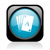 playing cards black and blue square web glossy icon