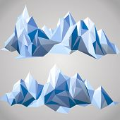 image of iceberg  - 2 horizontal borders with paper mountains - JPG