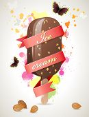 Bright summer time background with choc-ice