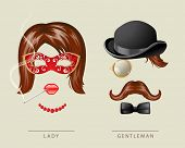 stock photo of fancy-dress  - Lady and gentleman fancy dress in retro style - JPG